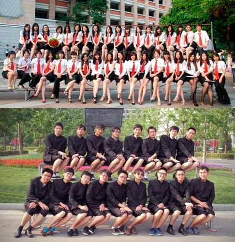 对比华师黑丝短裙毕业照,一个学校的男生拍摄了男生版的毕业照。